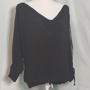 Moda International Black Long Sleeve Top with Lace